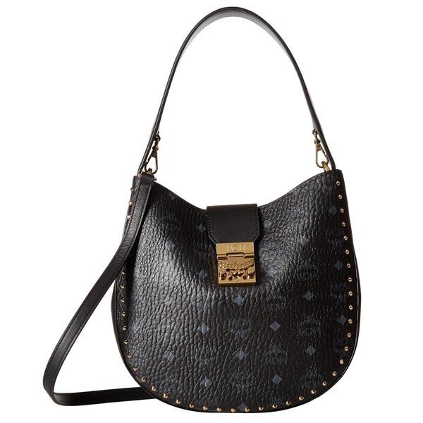 Patricia Medium Visetos Hobo Outline Black Bag Stud MCM S4dnqf88