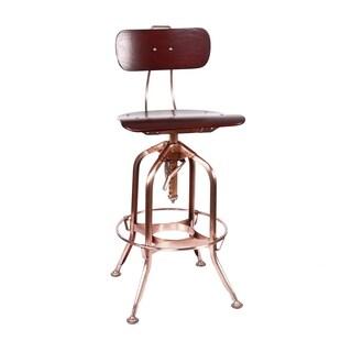 Toledo Red Walnut/Vintage Copper Adjustable High Back Bar Chair 25 - 29 Inch