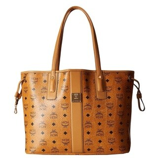 MCM Liz Reversible Medium Cognac Tote Bag
