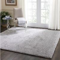 Nourison Malibu Silver Grey Solid Shag Square Rug (7'10 X Square )