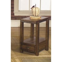 Distressed Umber Finish Wood End Table