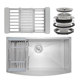 "AKDY KS0125 33"" x 22"" x 9"" Apron Farmhouse Handmade Stainless Steel Single Bowl Kitchen Sink - Silver"