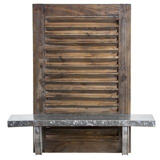 American Art Decor Rustic Wood Metal Hanging Shuttered Wall Shelf