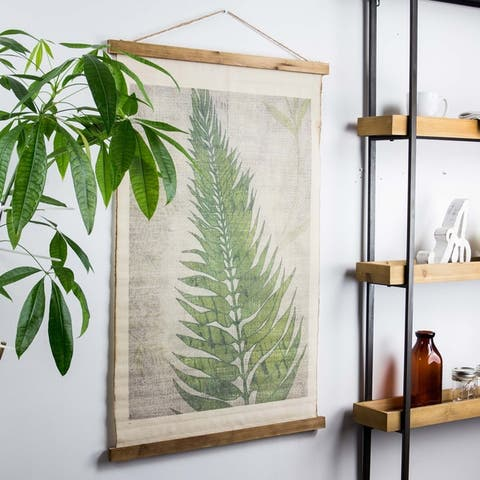 American Art Decor Fern Leaf Wall Scroll Tapestry with Rope