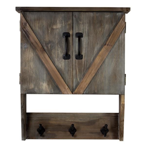American Art Decor Farmhouse Wall Hanging Storage Cabinet & Hooks