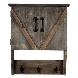 American Art Decor Farmhouse Wall Hanging Storage Cabinet & Hooks