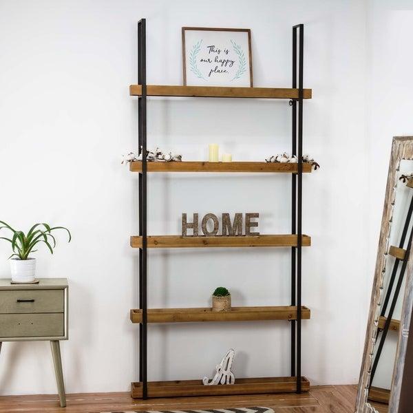American Art Decor Farmhouse Brown Wood and Metal Storage Shelf Organizer