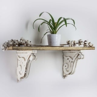 American Art Decor Wooden Corbels Farmhouse Shelf Brackets - White