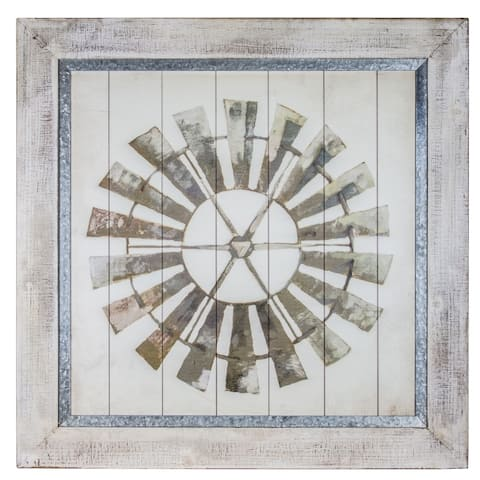 American Art Decor Whitewashed Windmill Print on Planked Wood