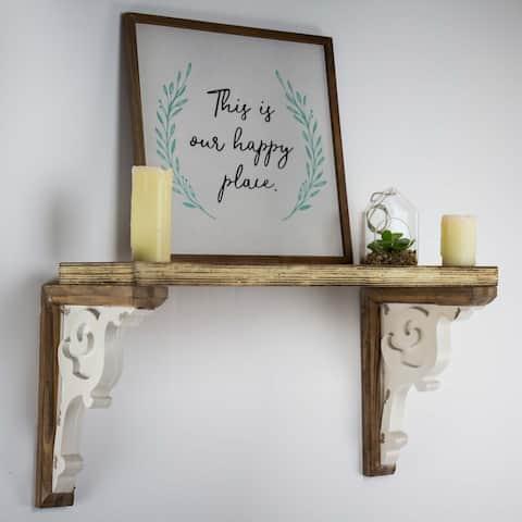 American Art Decor Wooden Corbels Shelf Brackets - Brown & White