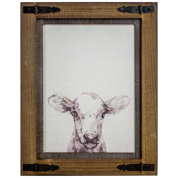 Shop American Art Decor Rustic Wood Framed Cow Canvas Print ...