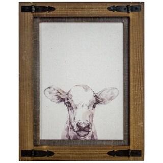 American Art Decor Rustic Wood Framed Cow Canvas Print Farmhouse Decor