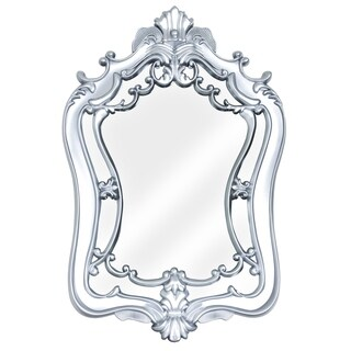 Silver Framed Baroque Style Wall Vanity Mirror Decor