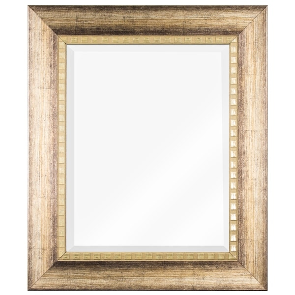 American Art Decor Decorative Wood Grain Rectangle Beveled Vanity Wall Mirror - Light Brown - A/N