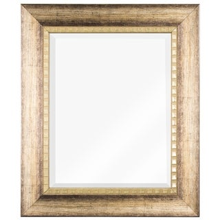 Decorative Wood Grain Rectangle Beveled Vanity Wall Mirror