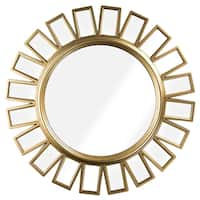 Round Gold Framed Hanging Wheel Wall Vanity Mirror Decor
