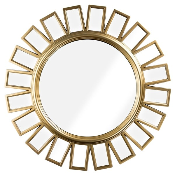 Round Gold Framed Hanging Wheel Wall Vanity Mirror Decor - A/N