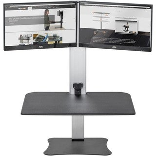 """Victor High Rise Electric Dual Monitor Standing Desk Workstation - Supports Two 25"""" Wide Monitors - 12.5 lbs Each Load Capacity"""