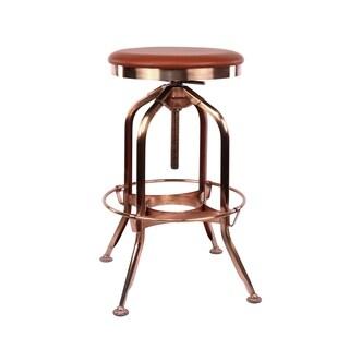 Toledo Adjustable Vintage Copper Padded Brown Seat Steel Barstool 25 - 29 Inch