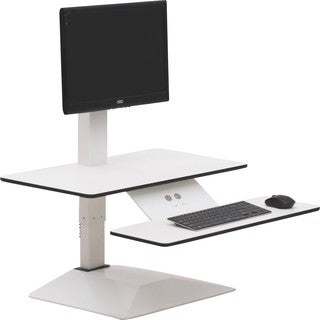 "Lorell Sit-to-Stand Electric Desk Riser - 21.6"" Height x 26.6"" Width x 25"" Depth - Desktop - Aluminum - White"