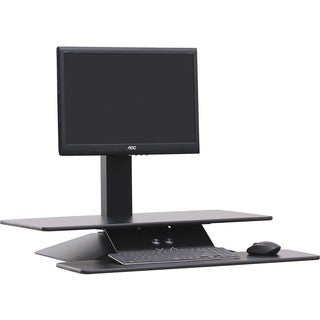 "Lorell Sit-to-Stand Electric Desk Riser - 21.6"" Height x 26.6"" Width x 25"" Depth - Desktop - Aluminum - Black"