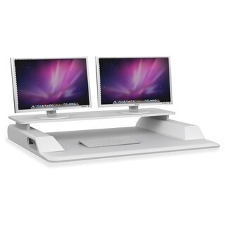 "Safco Merge Monitor Riser Sit-Stand Workstation - 4.5"" Height x 36"" Width x 27.5"" Depth - Desktop, Tabletop - White"