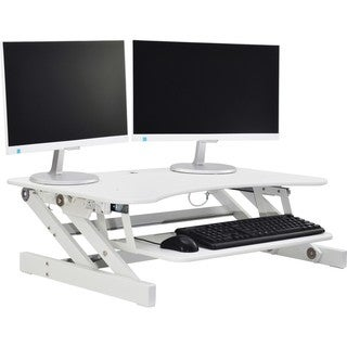 "Lorell Adjustable Desk Riser Plus - 40 lb Load Capacity - 9"" Height x 34.5"" Width x 27"" Depth - Desktop - White"