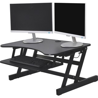 "Lorell Adjustable Desk Riser Plus - 40 lb Load Capacity - 9"" Height x 34.5"" Width x 27"" Depth - Desktop - Black"