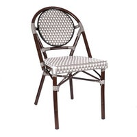 shop le marais aluminum wood look alike stackable bistro chair