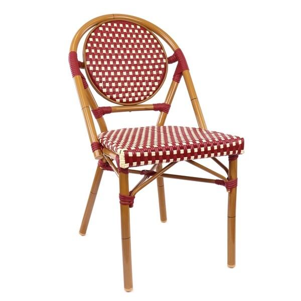 Le Marais Aluminum Wood Look Alike Stackable Bistro Chair
