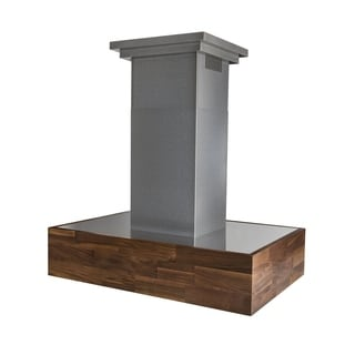 ZLINE 30 in. Wooden Island Mount Range Hood in Walnut Butcher Block - Includes 900 CFM Motor