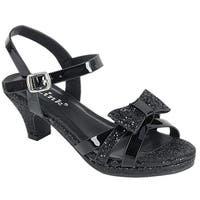 Link Girl's Glitter Bow Strap Buckle Platform Wrapped Heel Sandals