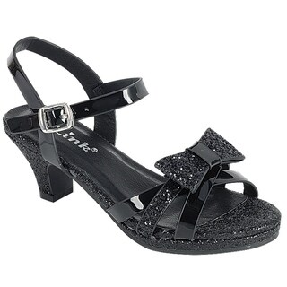 Link Girl's Glitter Bow Strap Buckle Platform Wrapped Heel Sandals (More options available)