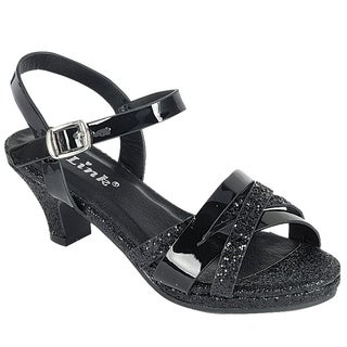 Link FQ27 Girl's Glitter Strappy Wrapped Kitten Heel Platform Sandals (More options available)