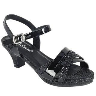 Link FQ27 Girl's Glitter Strappy Wrapped Kitten Heel Platform Sandals