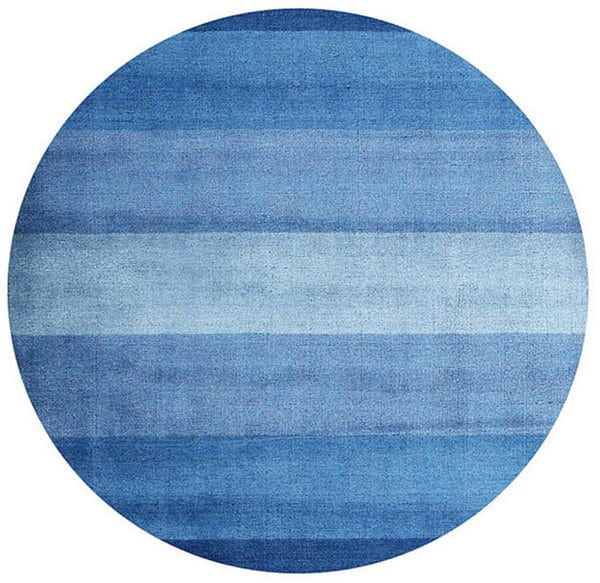 (6' Round) Hand-tufted Blue Stripe Wool Rug