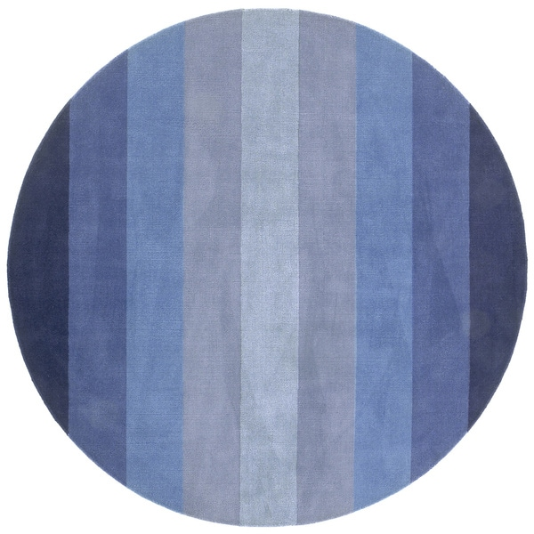 Hand Tufted Blue Stripe Wool Rug 8 Round Free