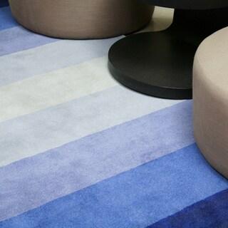 Hand-tufted Blue Stripe Wool Rug (8' Round) - 8' x 8' Round