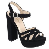 Forever FQ29 Women's Strappy Ankle Buckle Platform Chunky Heel Sandals