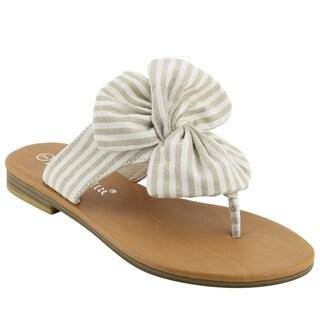 NATURE BREEZE EM13 Women's Striped Bow Thong Flip Flop Flat Sandals (More options available)
