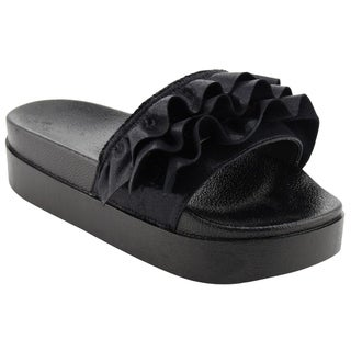 NATURE BREEZE Women's Ruffles One Band Backless Platform Slide Sandals (More options available)