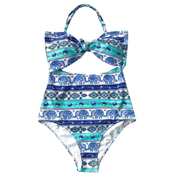 dbe4df9a62079 Cupshe Women's Elephant Printing High-waisted One-piece Cutout Swimsuit