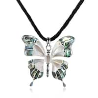 Handmade Seashell Inlaid Butterfly on Sterling Silver Silk Chord Necklace - Green/White