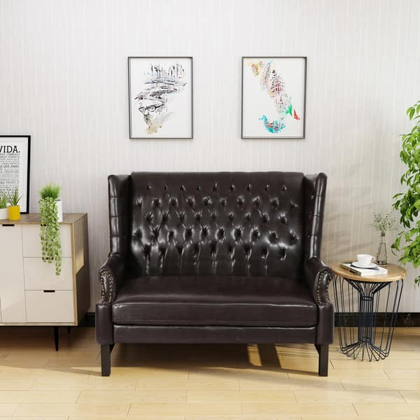 Tremendous Shop Nolie High Back Tufted Winged Pu Leather Loveseat By Creativecarmelina Interior Chair Design Creativecarmelinacom