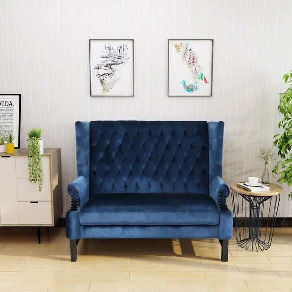 Charmant Nolie High Back Tufted Winged Velvet Loveseat By Christopher Knight Home