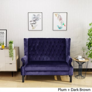 Nolie High Back Tufted Winged Velvet Loveseat by Christopher Knight Home