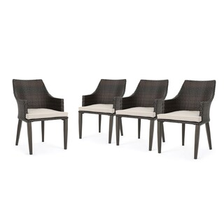 Hillhurst Outdoor Wicker Dining Chair with Cushions (Set of 4) by Christopher Knight Home