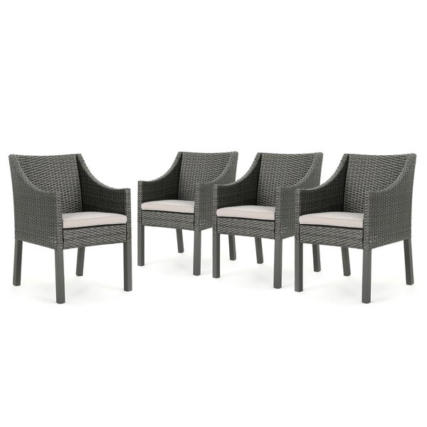 Antibes Outdoor Wicker Dining Chair with Cushions (Set of 4) by ...
