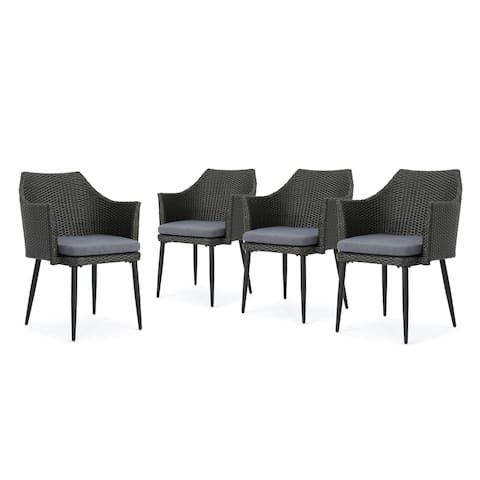 Iona Outdoor Wicker Dining Chair with Cushions (Set of 4) by Christopher Knight Home