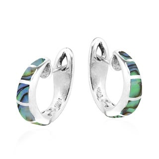 Simple Elegance Inlay Sterling Silver Hoop Leverback Earrings (Thailand)